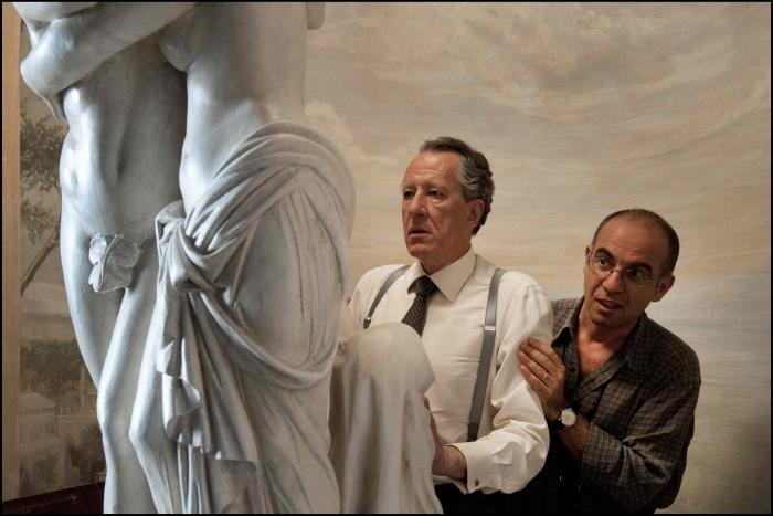 Tornatore (a destra) con il protagonista Geoffrey Rush